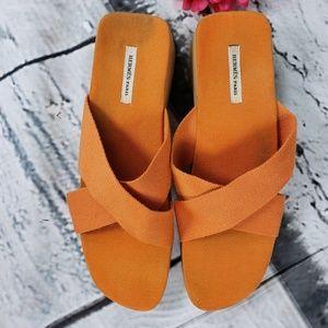 Hermes Paris Wood Platform Woven Sandals 40